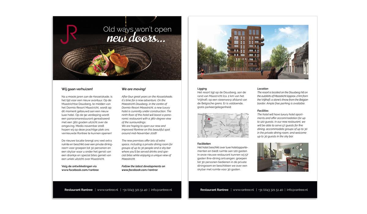 Opmaak flyer- verhuizing restaurant Rantree Maastricht