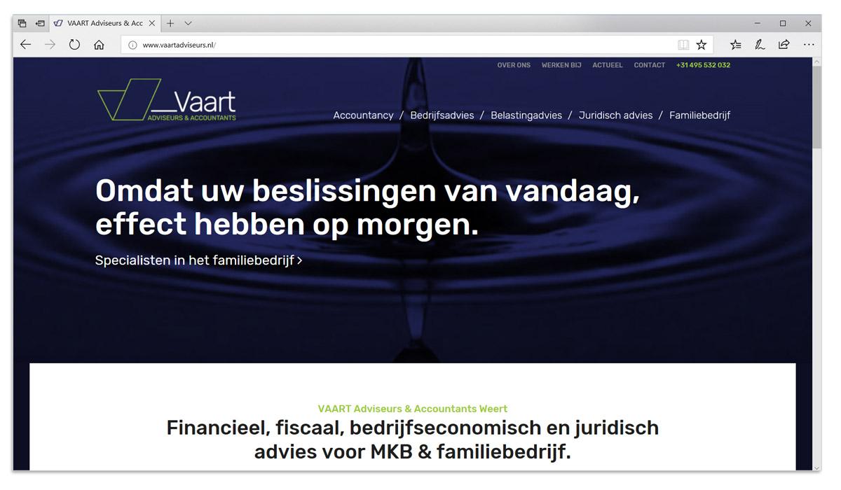 VAART Adviseurs en Accountants Weert - webiste ontwerp